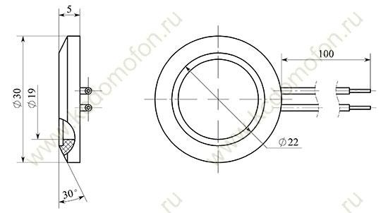 Габаритные размеры подсветки КС-КП