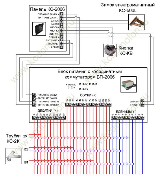 Схема подключения электрического замка к домофону.